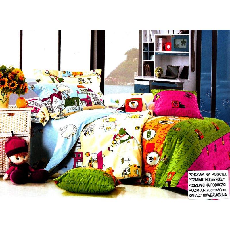 Pościel Dziecięca Kolorowa 140x200 Collection World 100% Bawełna Pościel kolorowa Pościel dla dzieci Pościel bawełniana 140x200