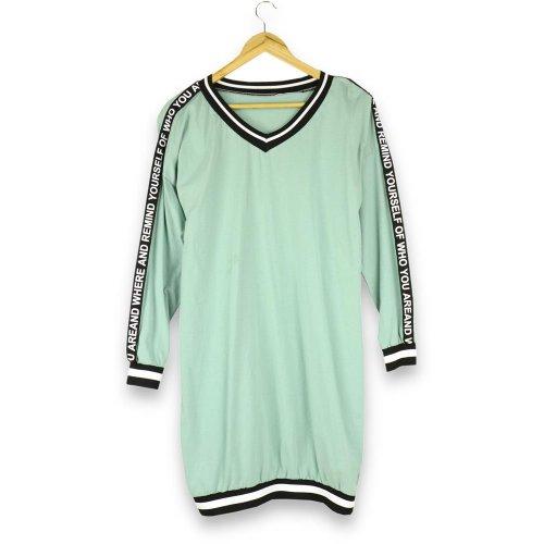 Tunika / sukienka damska z lampasami - pistacjowa