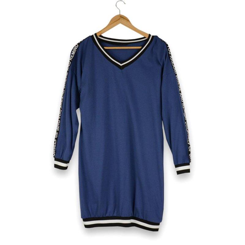 Tunika / sukienka damska z lampasami - niebieska