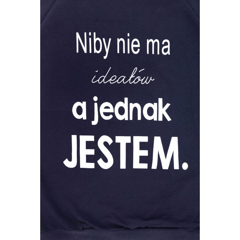 Bluza z napisem NIBY NIE MA IDEAŁÓW (granatowa)