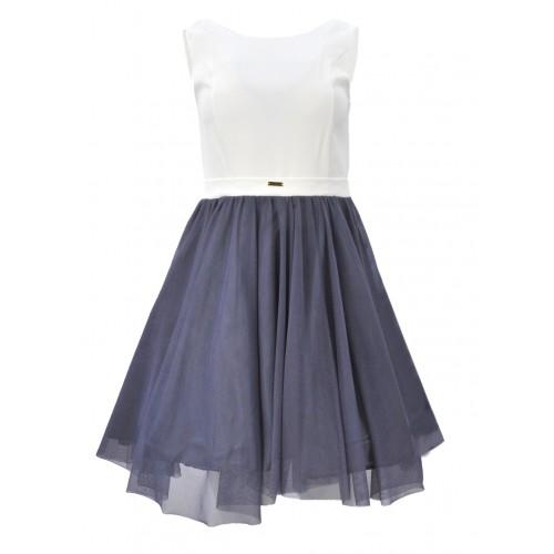 Sukienka rozkloszowana tiulowa (szara)