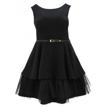Sukienka z finezyjnym tiulem od spodu (czarna)