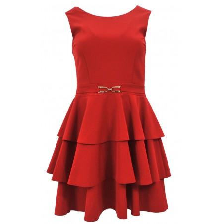 Sukienka z trzema falbanami (czerwona)