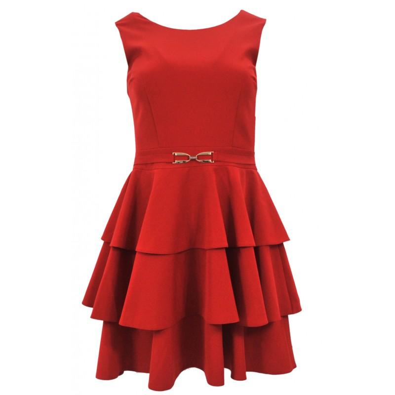 Sukienka na wesele z trzema falbanami (czerwona)