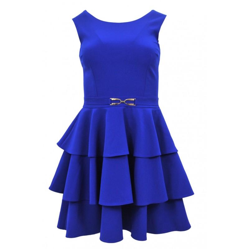 Sukienka z trzema falbanami (chabrowa)
