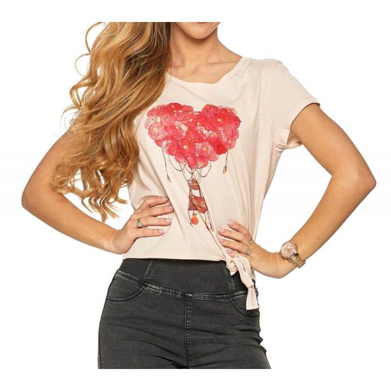 Koszulka damska z wiązaniem MORAJ - różowa