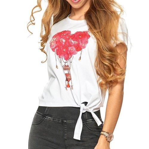 Koszulka damska z wiązaniem MORAJ - biała