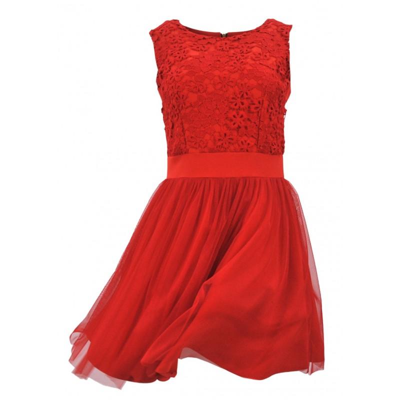 Sukienka koronkowa z tiulem (czerwona)