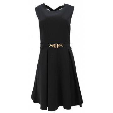 Sukienka rozkloszowana z efektownym tyłem D. ROZMIAR (czarna)