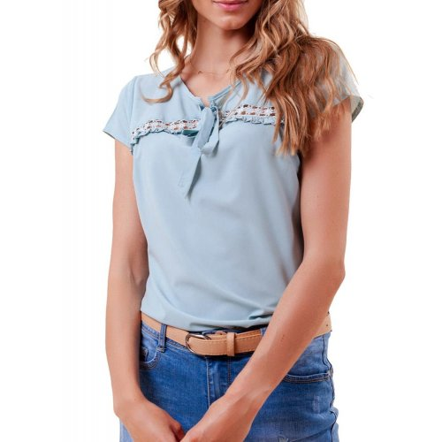 Bluzka damska z wiązaniem i koronką- niebieska