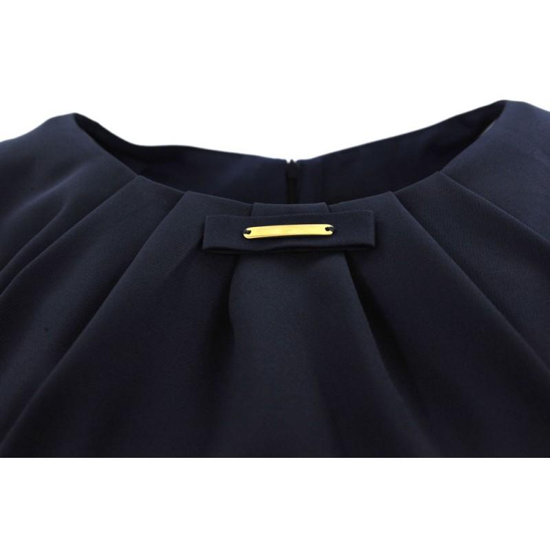 Sukienka trapezowa z kokardką na biuście (granatowa)