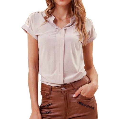 Bluzka damska z miękkiej tkaniny - beżowa