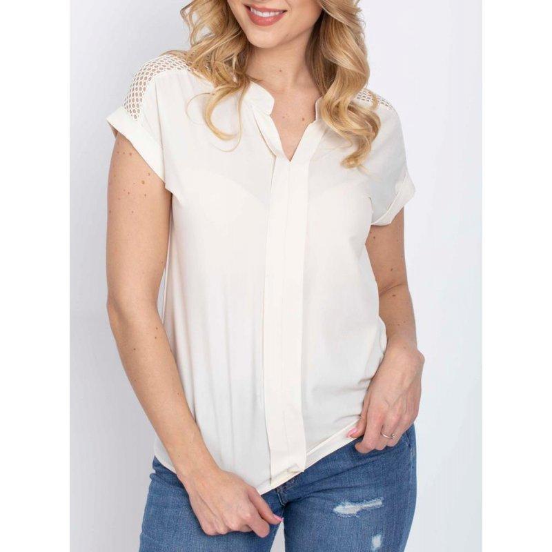 Bluzka damska z miękkiej tkaniny - kremowa