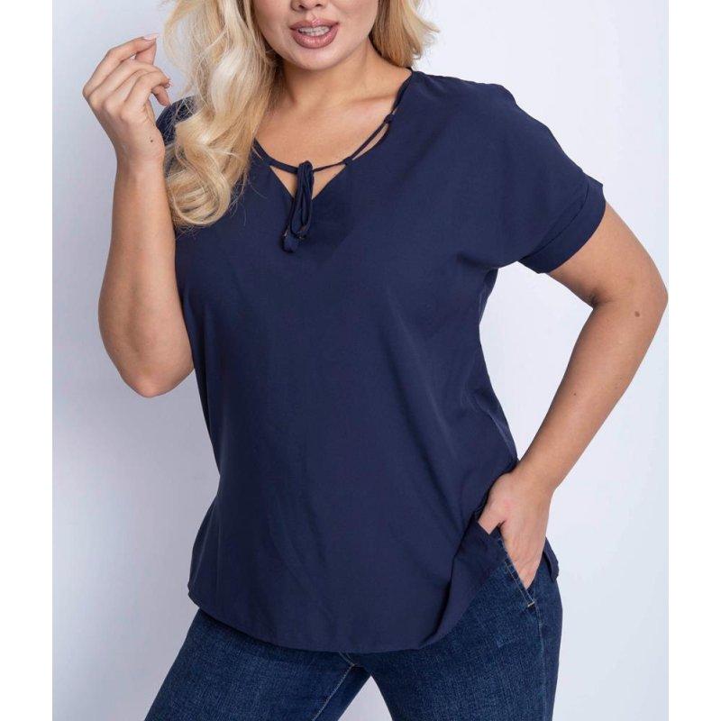 Granatowa bluzka damska z miękkiej tkaniny wiązana