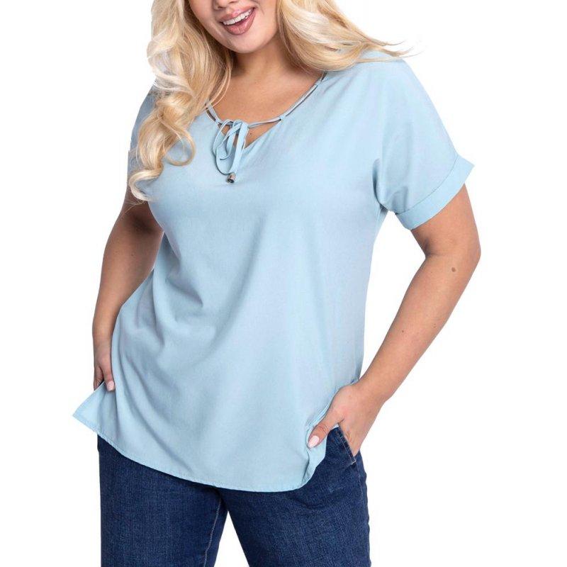 Niebieska bluzka damska z miękkiej tkaniny wiązana