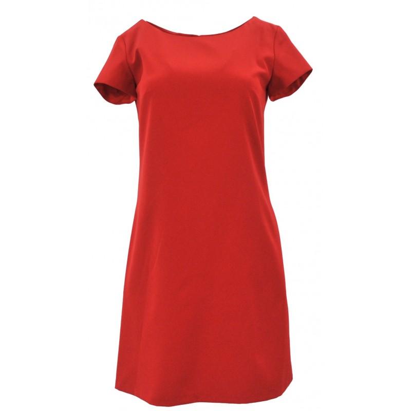 Klasyczna sukienka z kieszeniami i guzikami (czerwona)
