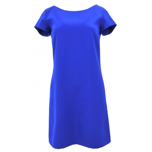 Klasyczna sukienka z kieszeniami i guzikami (chabrowa)