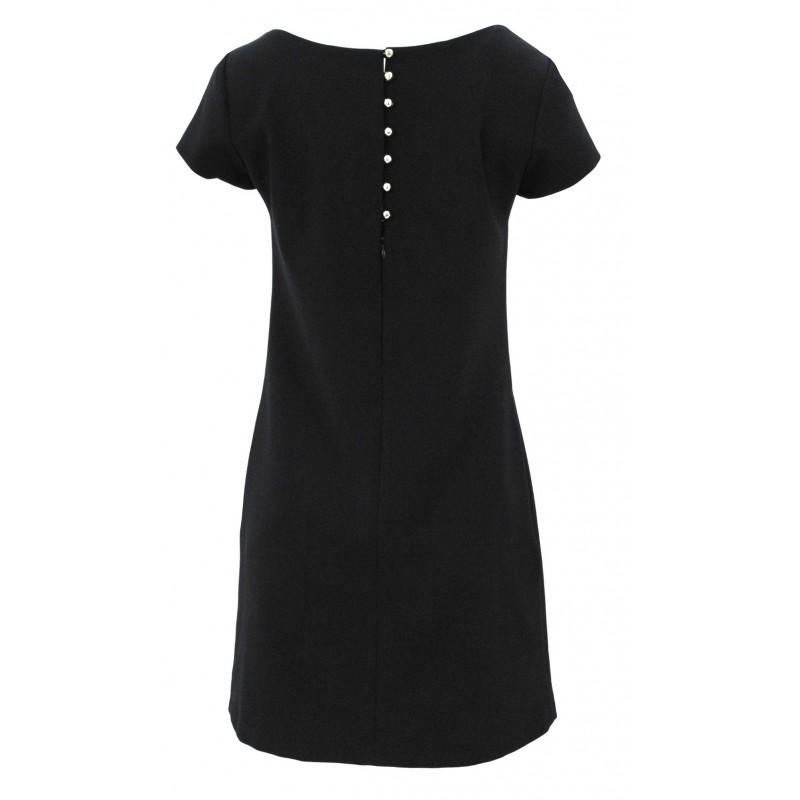 Klasyczna sukienka z kieszeniami i guzikami (czarna)
