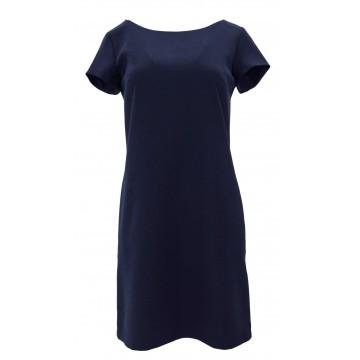Klasyczna sukienka z kieszeniami i guzikami (granatowa)