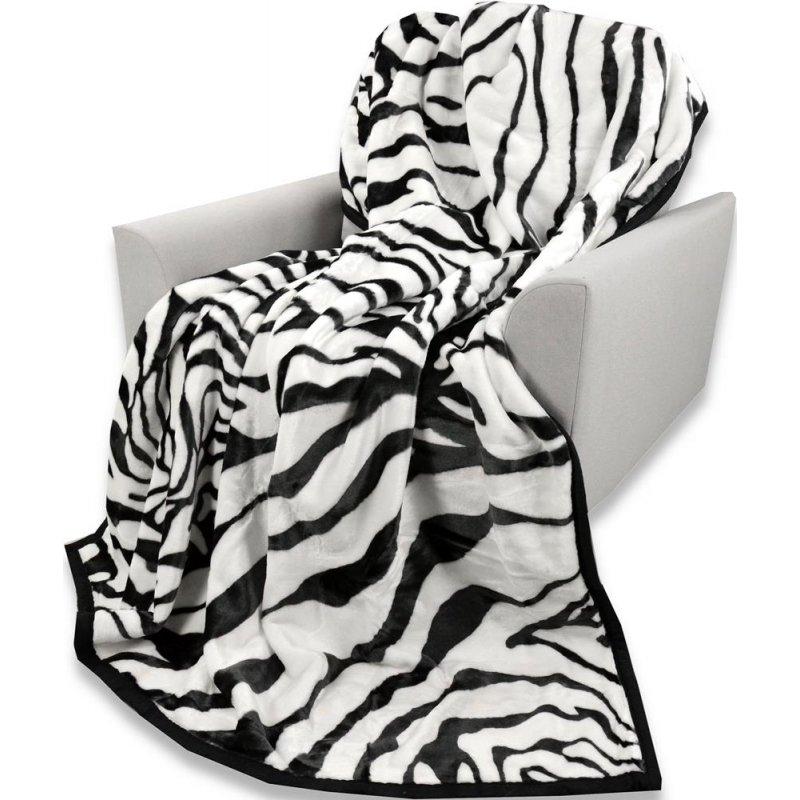 Koc Akrylowy Narzuta ELWAY 160x210 Wzór 523 Zebra Motyw Zwierzęcy Koc na Łóżko Jednoosobowe