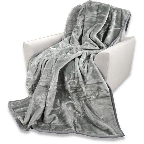 Koc Akrylowy Tłoczony Narzuta ELWAY 160x210 Wytłaczany Jasnoszary Jasny Szary Koc na Łóżko Szary Koc Akrylowy