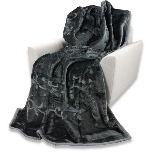 Koc Akrylowy Tłoczony Narzuta ELWAY 160x210 Wytłaczany Ciemnoszary Koc Akrylowy Szary Koc Akrylowy Popielaty