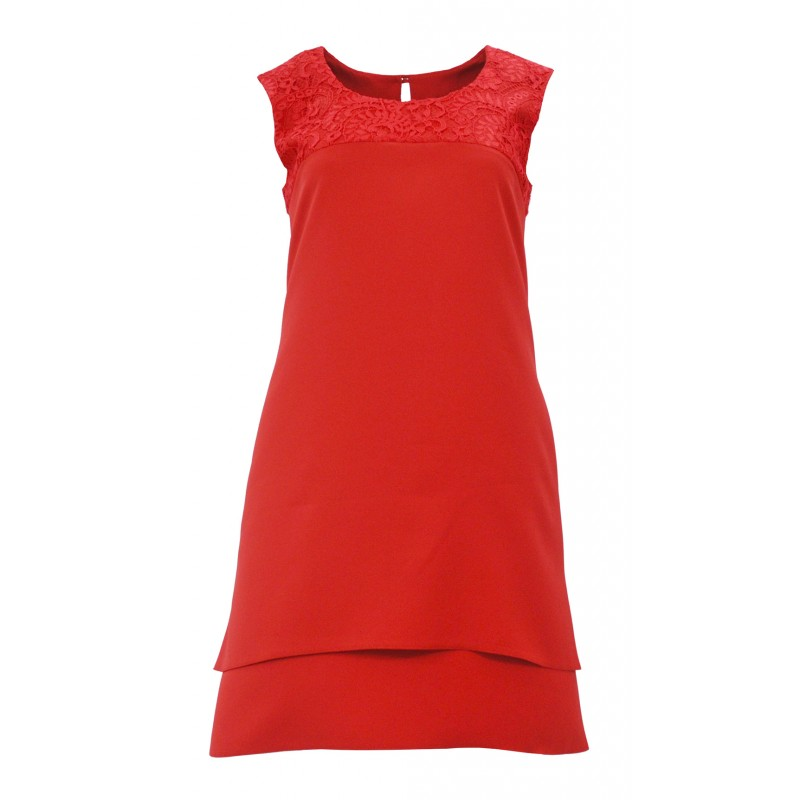 Sukienka trapezowa z koronką na ramionach D. ROZMIAR (czerwona)