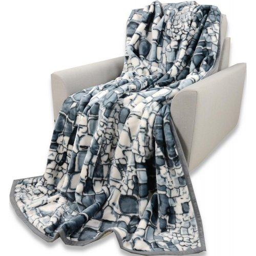 Koc Akrylowy Narzuta ELWAY 160x210 Wzór 933-5 Szare Kamienie koc Narzuta na Łóżko Piękny Koc na Prezent Koc do spania