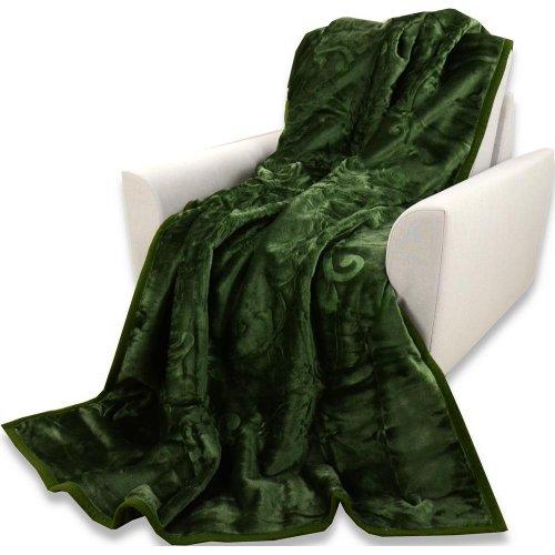 Koc Akrylowy Tłoczony Narzuta ELWAY 160x210 Kolor 43 Ciemnozielony koc Koc zieleń butelkowa Zielony koc Ciemna zieleń