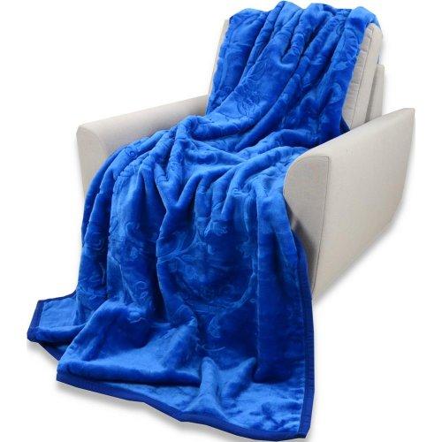 Koc Akrylowy Tłoczony Narzuta ELWAY 160x210 Kolor Gruby Koc Narzuta na Łóżko Narzuta na Kanapę Niebieski Koc Pomysł na Prezent