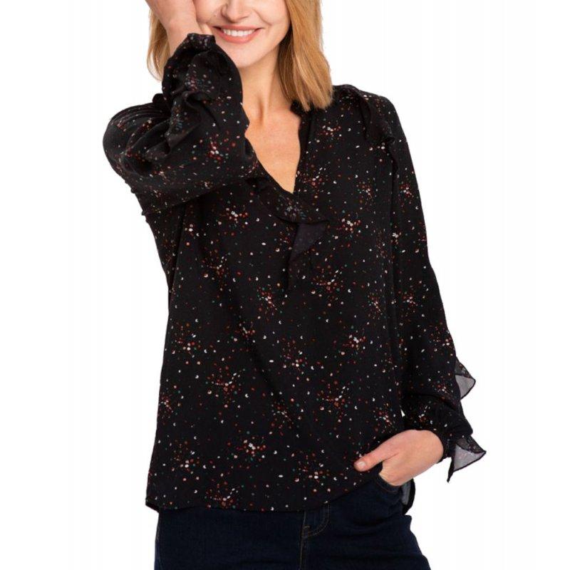 Bluzka K-FLOY - czarna w drobne kwiaty