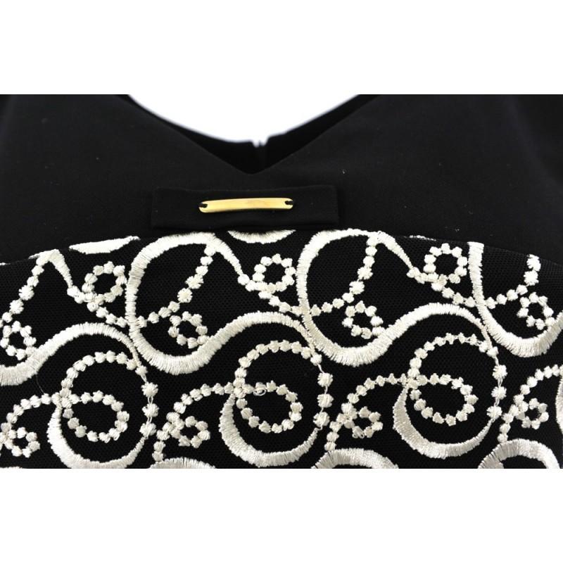 Sukienka trapezowa z beżową gipiurą D. ROZMIAR (czarna)