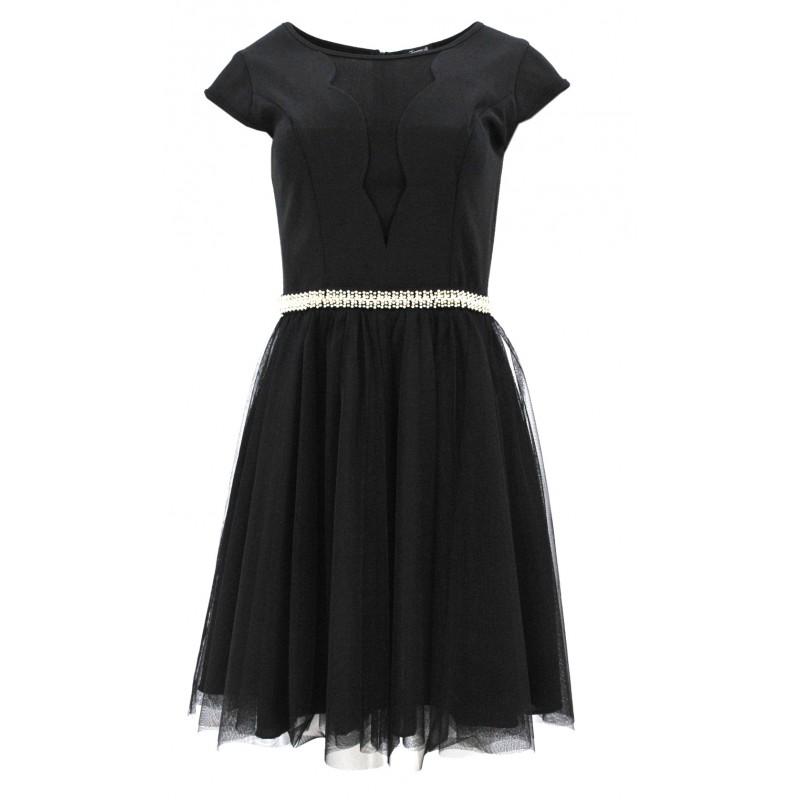 Sukienka z seksownym dekoltem i tiulem (czarna)