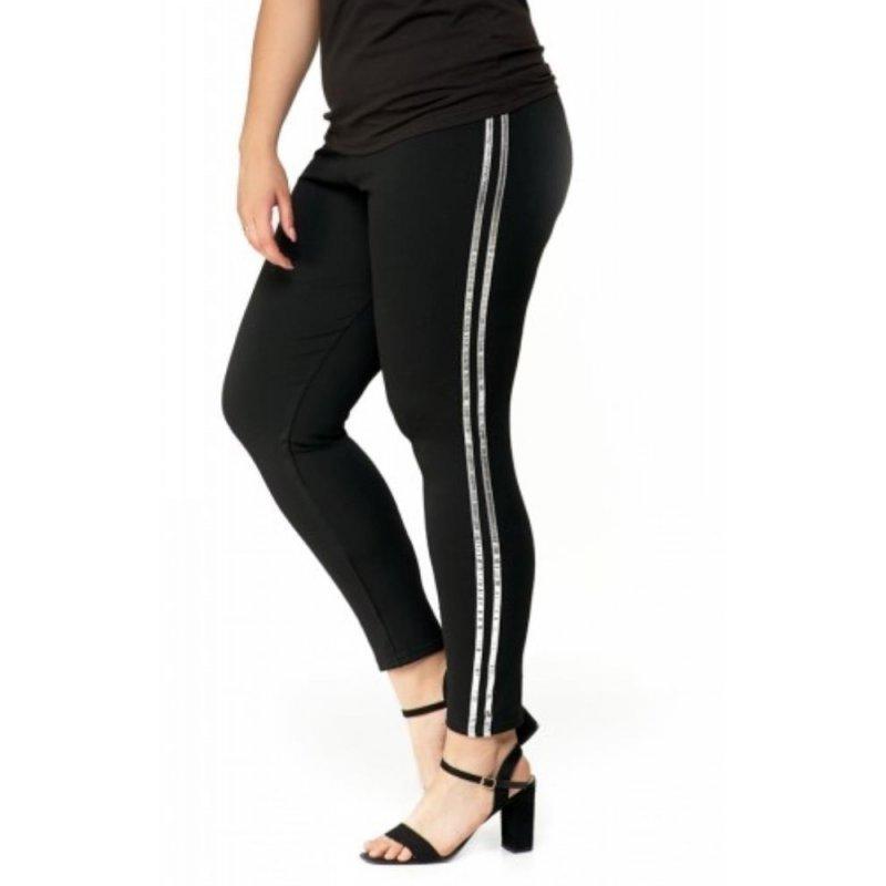 Czarne legginsy bawełniane ze srebrnym lampasem