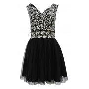 Sukienka z beżową gipiurą i tiulem (czarna)