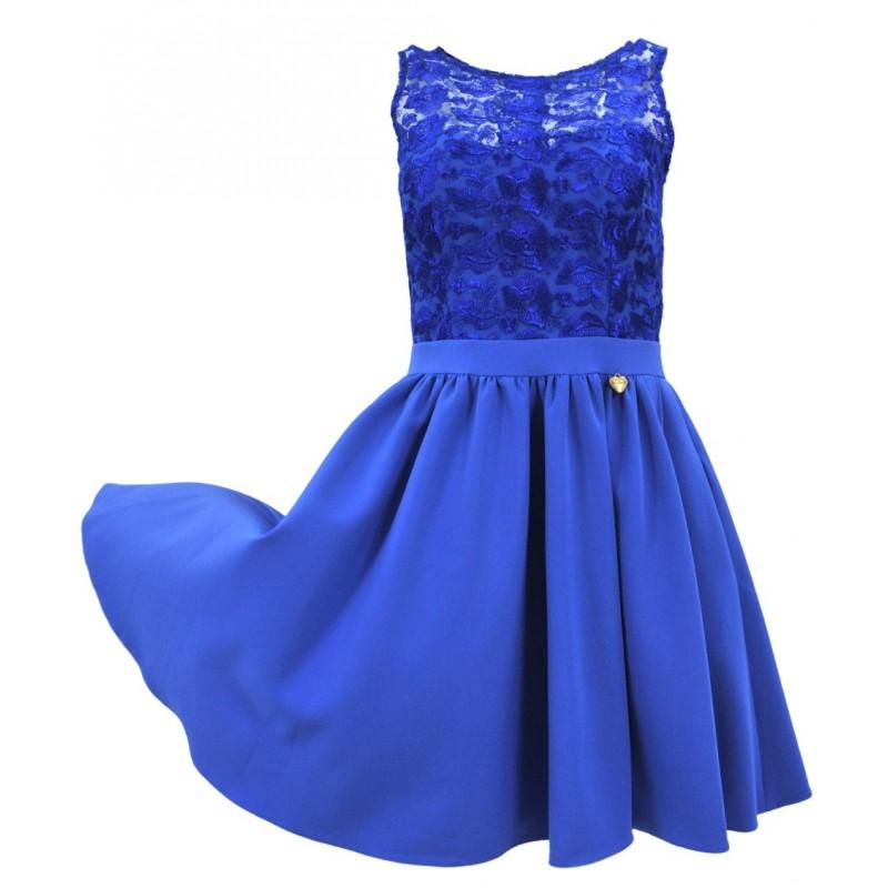 Sukienka rozkloszowana z koronką i kieszeniami (chabrowa)