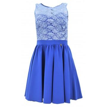 Sukienka rozkloszowana z koronką i kieszeniami (niebieska)