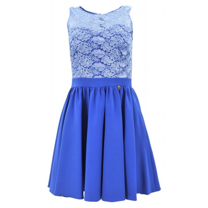 Sukienka na wesele rozkloszowana z koronką i kieszeniami (niebieska)