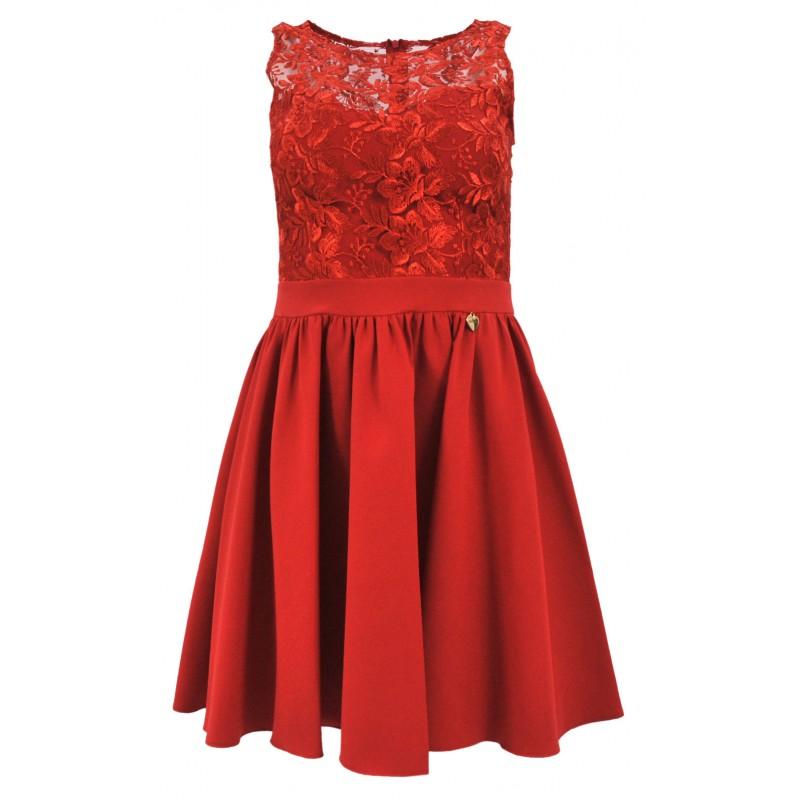 Sukienka rozkloszowana z koronką i kieszeniami (czerwona)