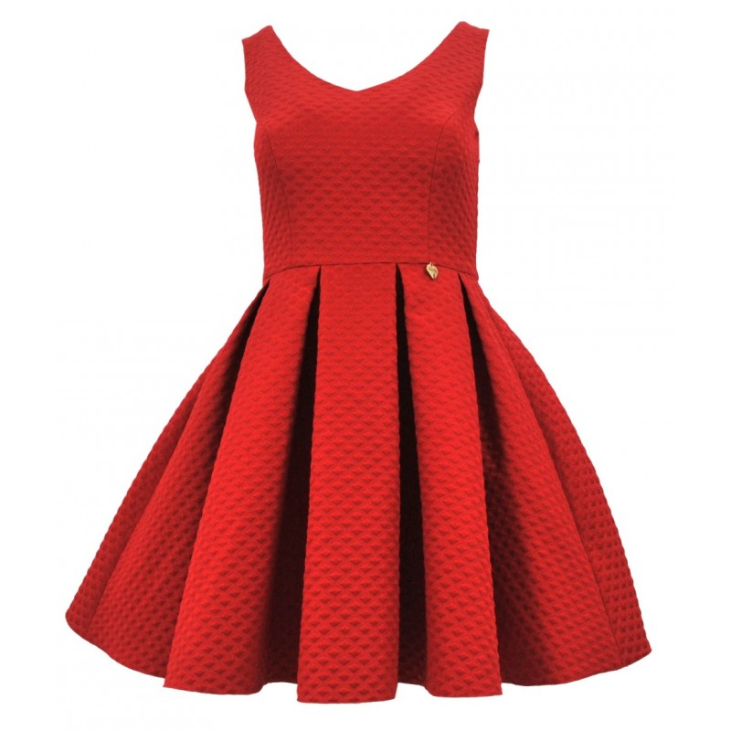 Sukienka rozkloszowana żakardowa z kieszeniami (czerwona)
