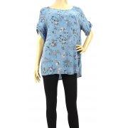 Luźna bluzka w kwiaty (niebieska)
