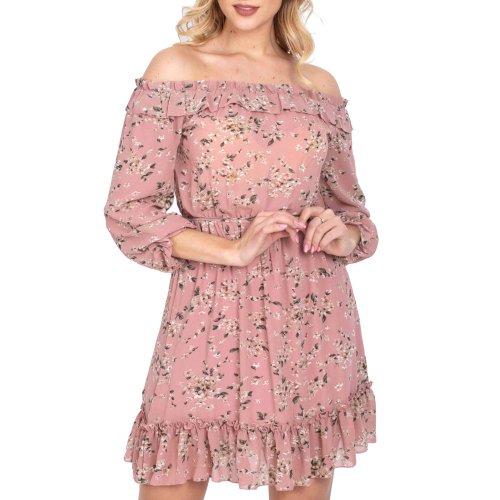 Sukienka szyfonowa hiszpanka w kwiaty pudrowy róż