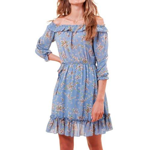 Sukienka szyfonowa hiszpanka w kwiaty niebieska