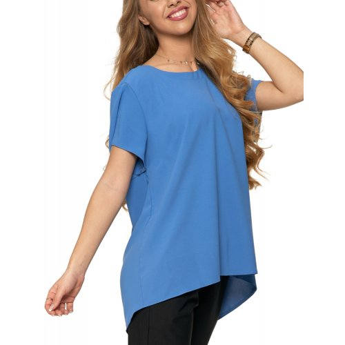 Bluzka damska z dłuższym tyłem - niebieska