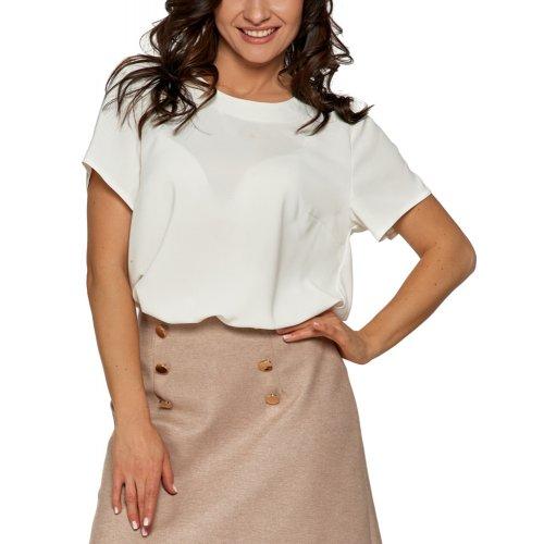 Bluzka damska z dłuższym tyłem - kremowa