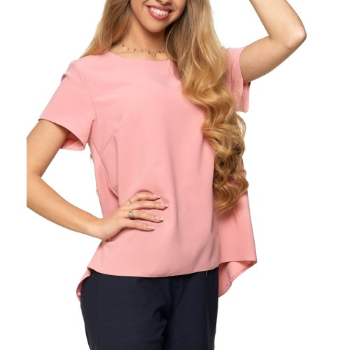 Bluzka damska z dłuższym tyłem - różowa