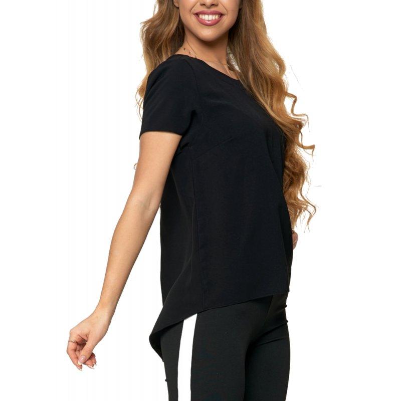 Bluzka damska z dłuższym tyłem - czarna