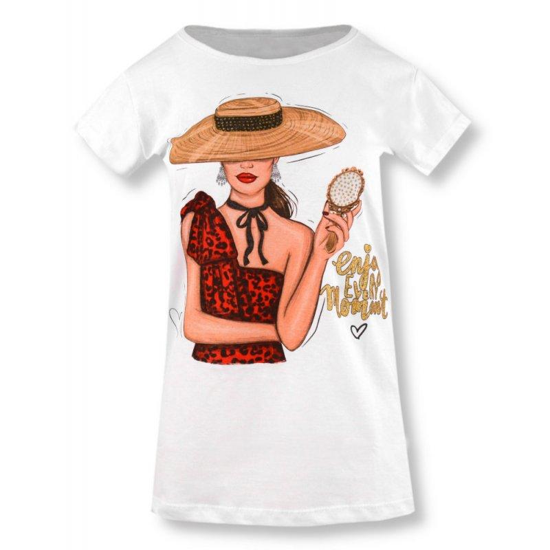 Koszulka damska z nadrukiem KOBIETA W KAPELUSZU 9572 Koszulka damska z nadrukiem t-shirt damski bluzeczka damska z krótkim rękaw