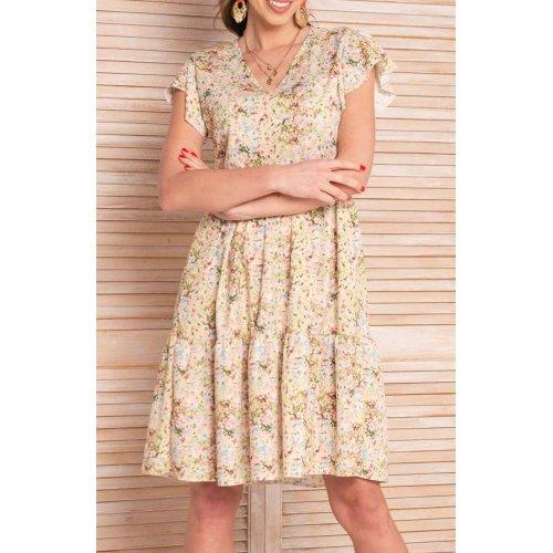 Sukienka trapezowa letnia w kwiaty zielona  - 8101