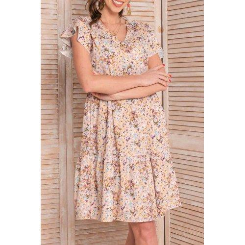 Sukienka trapezowa letnia w kwiaty wrzosowa  - 8101